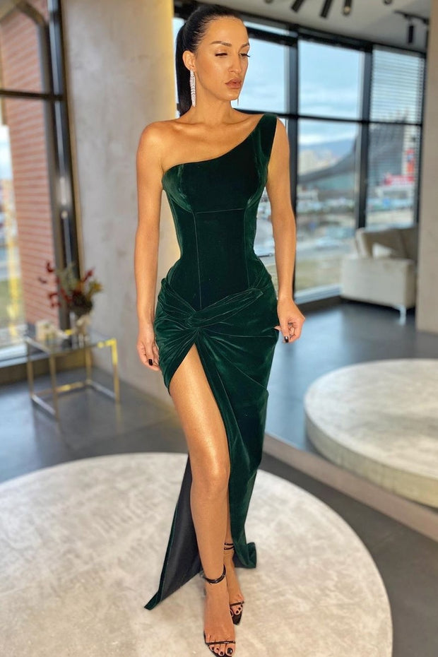 dark-green-velvet-single-shoulder-prom-dresses-with-ruching-high-thigh-slit