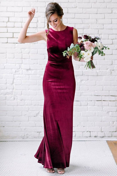 decent-burgundy-velvet-bridesmaid-gown-floor-length