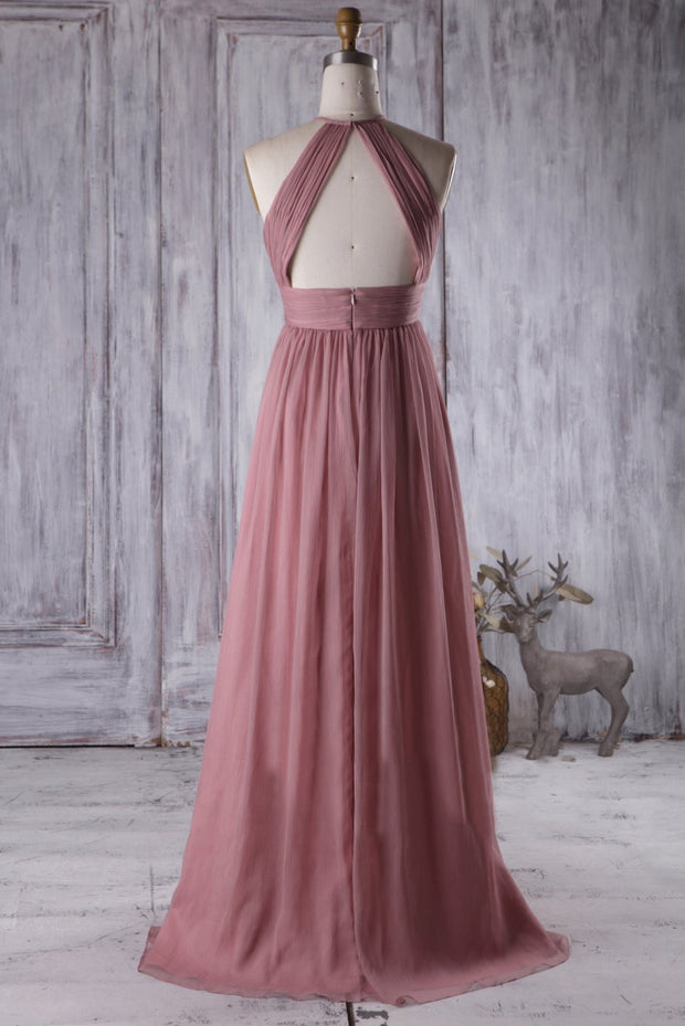 feminine-desert-rose-bridesmaid-dress-with-ruching-halter-neckline-1