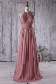 feminine-desert-rose-bridesmaid-dress-with-ruching-halter-neckline