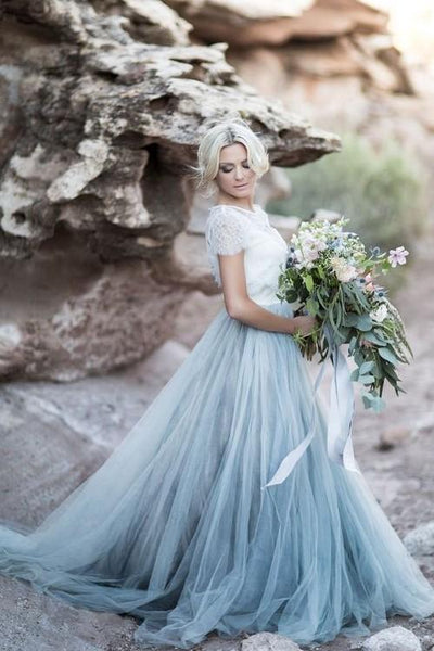 dusty-blue-tulle-wedding-dress-with-removable-lace-top