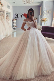 dusty-pink-tulle-skirt-wedding-dress-off-the-shoulder