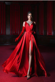 elegant-red-formal-dress-for-prom-v-neckline-vestido-de-noche