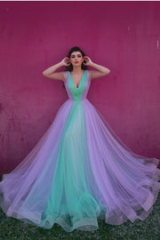 enchanting-tulle-color-block-prom-gowns-with-v-neckline