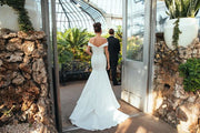 Simple Satin Trumpet Wedding Gown with Off-the-shoulder