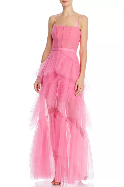 flamingo-pink-tulle-prom-gown-with-ruffle-trimmed