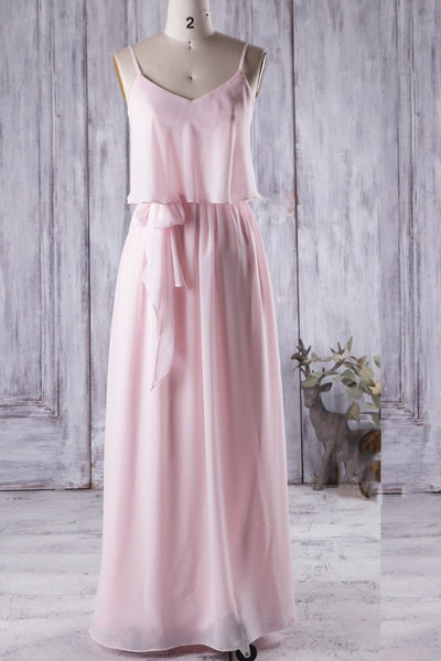 floor-length-pink-boho-bridesmaid-dress-with-chiffon-skirt