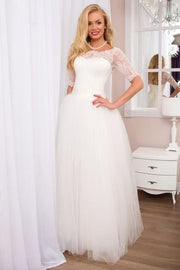 floor-length-tulle-ivory-wedding-gowns-with-lace-off-the-shoulder