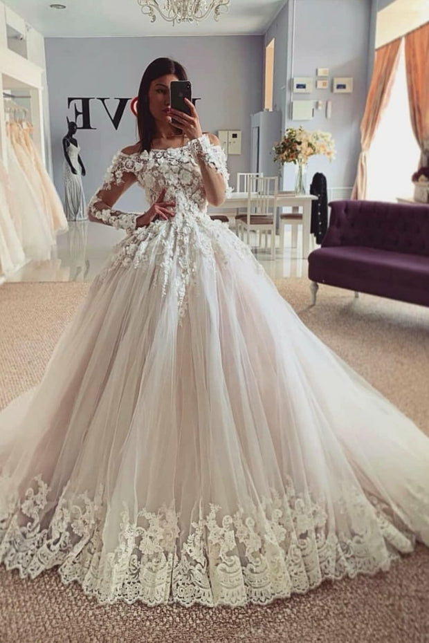 Floral Lace Off-the-shoulder Sleeves Wedding Gown with Lace Train