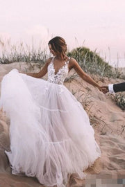 a-line-tulle-skirt-bridal-dress-with-lace-v-neckline