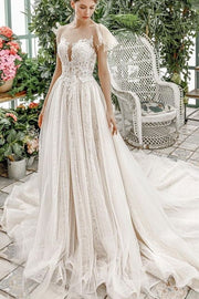 flounced-sleeves-ivory-lace-dress-for-marriage-2020-bridal-gowns