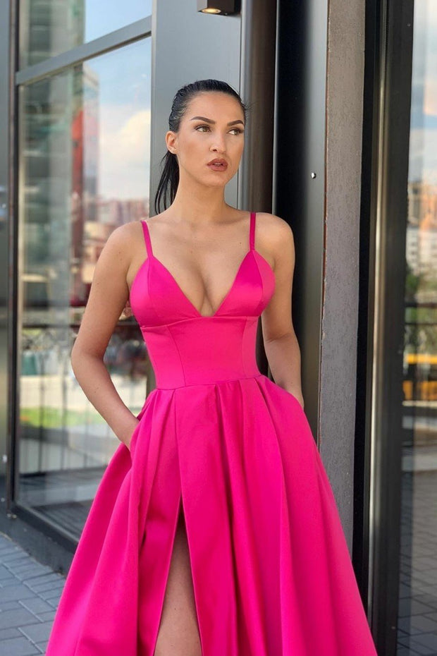 fuchsia-satin-long-prom-dresses-with-wide-waistband-1