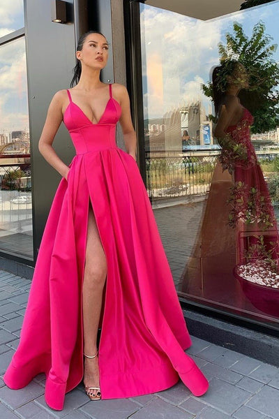 fuchsia-satin-long-prom-dresses-with-wide-waistband