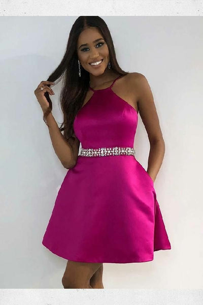 fuchsia-satin-short-homecoming-dress-with-rhinestones-belt