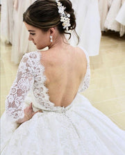 full-lace-elbow-sleeves-wedding-gown-with-jewelry-belt-1