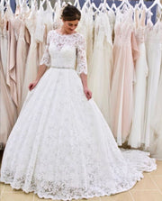 full-lace-elbow-sleeves-wedding-gown-with-jewelry-belt-2