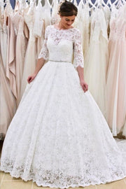 full-lace-elbow-sleeves-wedding-gown-with-jewelry-belt