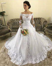 full-sleeve-lace-dress-for-bride-off-the-shoulder-neckline-1