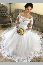 full-sleeve-lace-dress-for-bride-off-the-shoulder-neckline