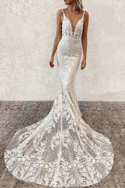 garden-inspired-floral-lace-wedding-dresses-v-neckline
