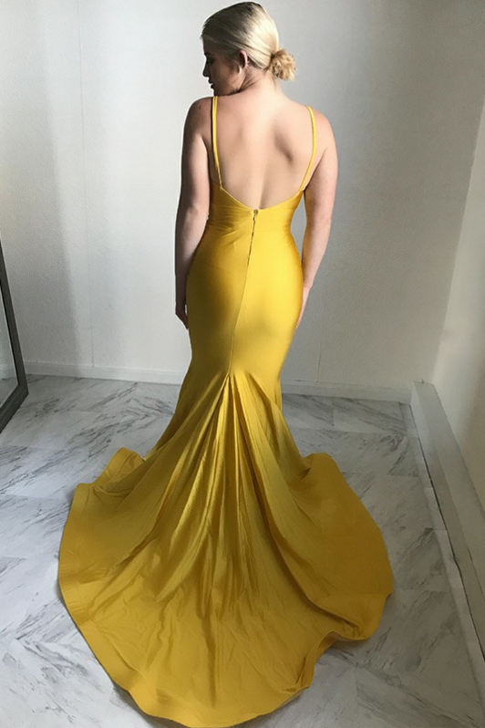 ginger-yellow-mermaid-evening-dress-plunging-v-neckline-1