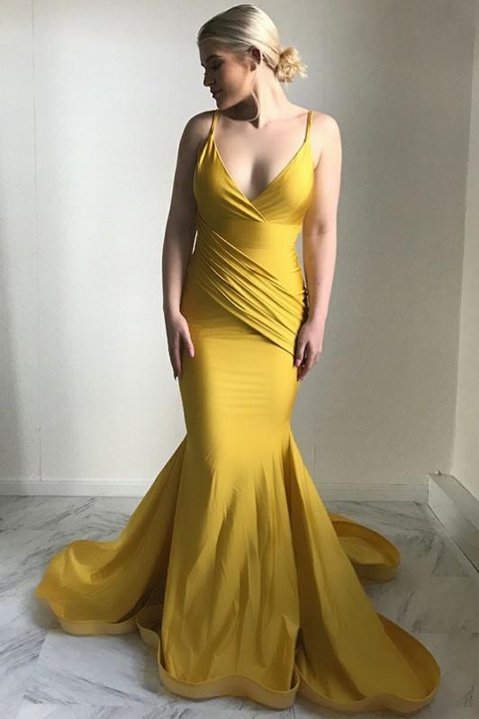 ginger-yellow-mermaid-evening-dress-plunging-v-neckline