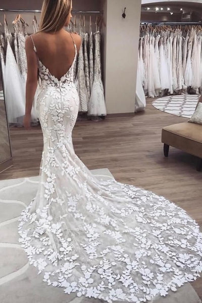 Glamour Mermaid Wedding Dress with Floral Lace Train