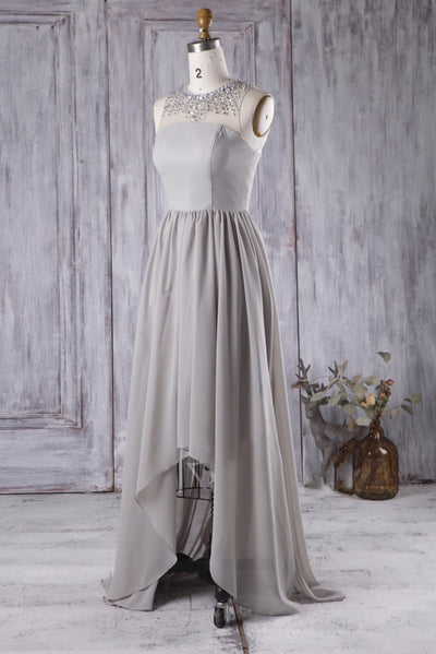 Gray Chiffon Rhinestones Bridesmaid Dresses High-Low Skirt