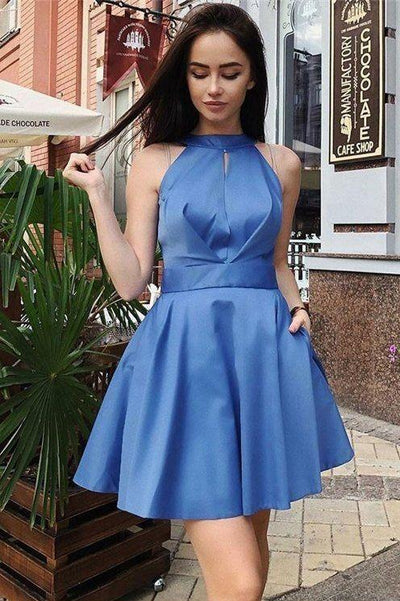 halter-blue-satin-homecoming-dresses-short-vestido-de-fiesta