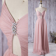 Breezy Chiffon Bridesmaid Dresses with Ruched V-neckline