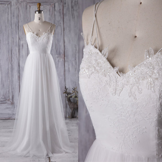 Lace&Tulle White Boho Wedding Dress with Strappy Back