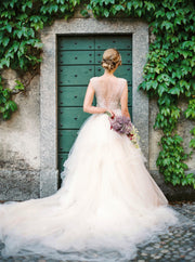illusion-bodice-lace-ball-gown-wedding-dress-tulle-skirt-3