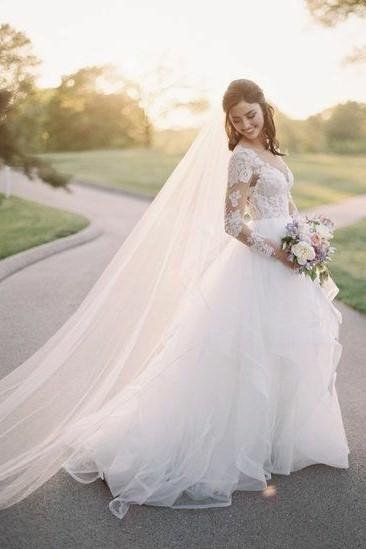 illusion-neckline-tulle-wedding-dress-with-lace-sleeves