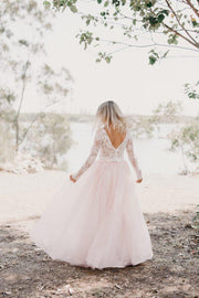 ivory-lace-long-sleeved-wedding-gown-light-pink-tulle-skirt-1