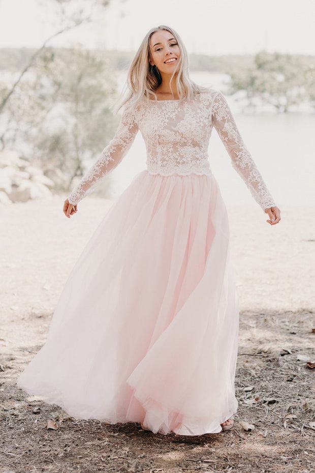 Ivory Lace Long Sleeved Wedding Gown Light Pink Tulle Skirt