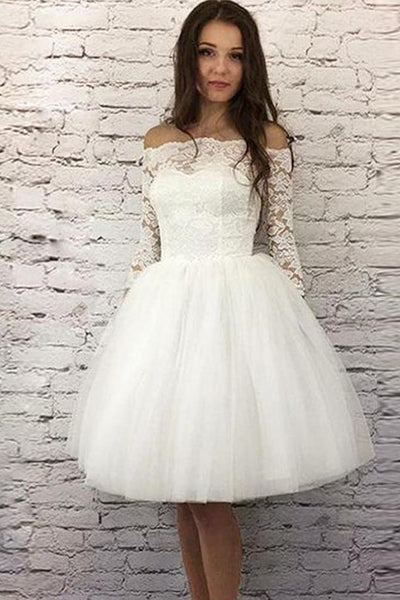 ivory-short-wedding-dresses-lace-off-the-shoulder-bodice