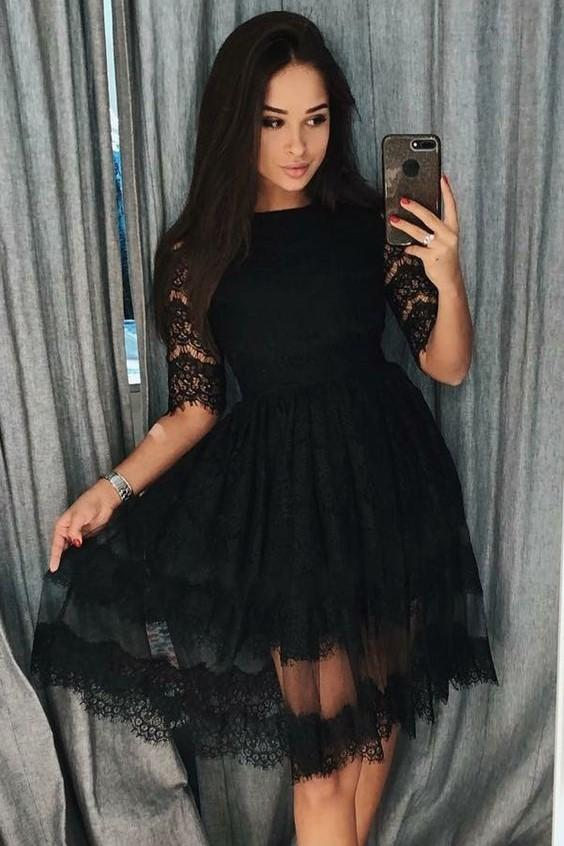 knee-length-black-lace-homecoming-dresses-half-sleeves