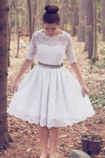 knee-length-wedding-dresses-with-lace-short-sleeves