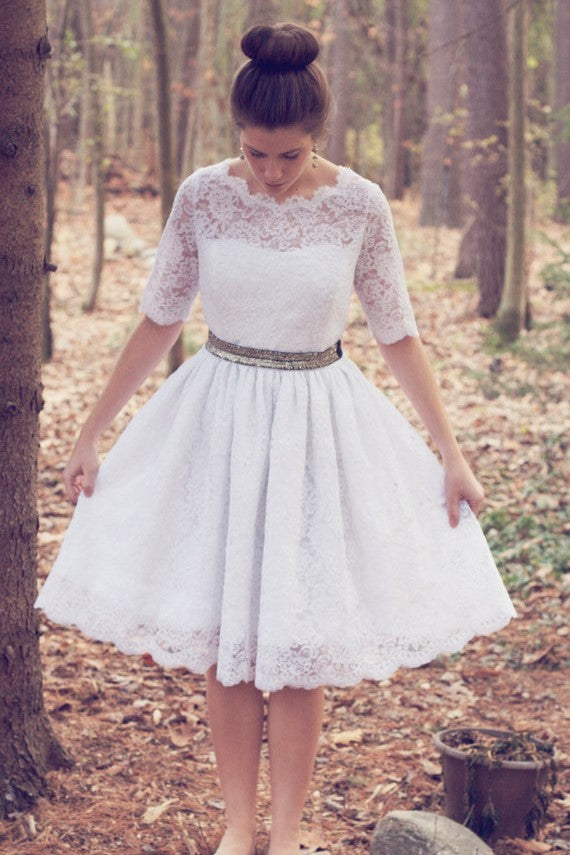 Knee Length Wedding Dresses With Lace Short Sleeves