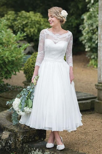 lace-3/4-sleeves-tea-length-wedding-dresses-with-chiffon-skirt