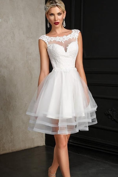 lace-capped-sleeves-informal-bridal-dress-with-tiered-skirt