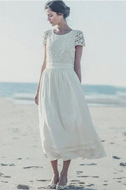 lace-chiffon-short-bridal-gown-with-round-neck