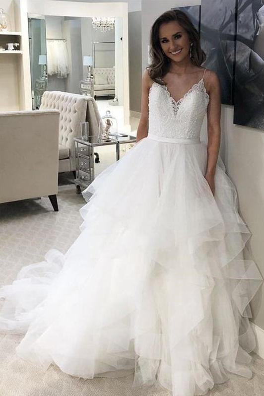 Corset Wedding Dresses.Lace Corset Wedding Dress With Layered Horsehair Skirt