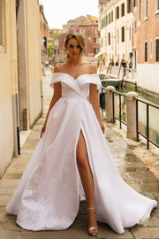 lace-embroidered-white-wedding-gown-with-shoulder-to-shoulder-neckline