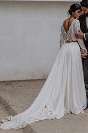 lace-full-sleeves-two-piece-wedding-dress-beach-1
