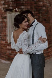 lace-full-sleeves-two-piece-wedding-dress-beach-2