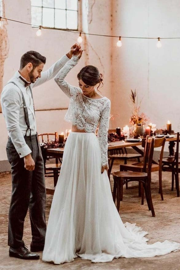 lace-full-sleeves-two-piece-wedding-dress-beach