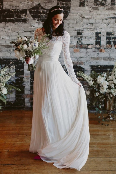 Lace Long Sleeves Boho Wedding Dresses Chiffon Skirt