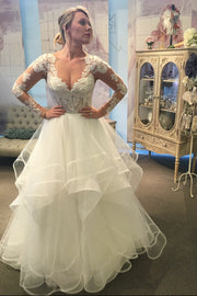 lace-long-sleeves-bridal-gown-with-ruffles-tulle-skirt