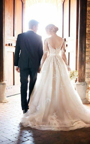 lace-long-sleeves-champagne-wedding-dresses-with-horsehair-skirt-2